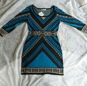 Flying Tomato Tribal Geometric Sweater Dress NWT
